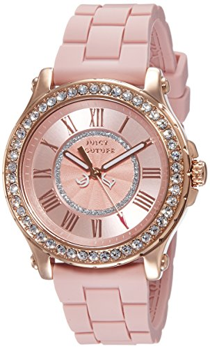 Juicy Couture Pedigree Women's Quartz Watch with Pink Dial Analogue Display and Pink Rubber Strap 1901054