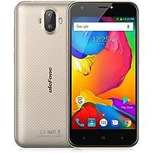 "Ulefone S7 - 4G Smartphone Libre (Android 7.0, 5.0"" HD Pantalla, MTK6580 Qcta Core, 1Gb Ram 8GB ROM, Dual Sim, Dual Cámara, 2500mAh Batería) (Oro)"