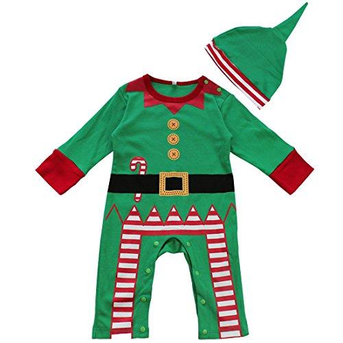 Freebily Disfraz de Papá Noel para Bebé Niña Niño Unisex Pelele Body Mono de Navidad Fiesta Bautizo con Gorro para Recién Nacido Verde 0-3 Meses