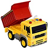 IndusBay Friction Powered Construction Automobile Dumper Dump Truck Toy With Light & Sound For Kids