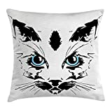 Animal Throw Pillow Cushion Cover, Big Cat Face Pet Cute with Whiskers witn Dark Shadow Hand Drawn Image, Decorative Square Accent Pillow Case, 18 X 18 inches, Black White and Sky Blue