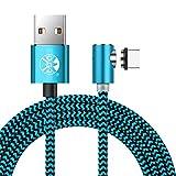 3M magnetisches USB-C-Kabel mit LED-Anzeige Nylon-geflochtenes rundes 90-Grad-Ladekabel für Android Samsung Huawei LG Sony und mehr (Blau)