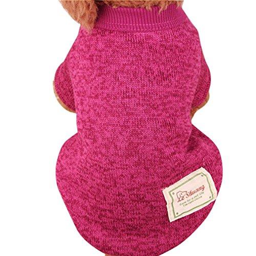 Nette Haustier Hundestrickjacke, Hmeng Einfarbig Wolle Pullover Haustier Welpen Katzen Warmes Hund Mantel 5 Größen 11 Farben (M, Heißes Rosa)