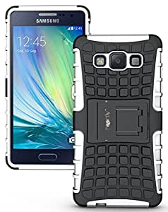 Heartly Flip Kick Stand Spider Hard Dual Rugged Armor Hybrid Bumper Back Case Cover For Samsung Galaxy A5 2015 SM-A500F - Best White