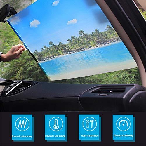 Volwco Auto-Sonnenrollo, 50 x 125 cm, mit automatischer Teleskopfunktion, Frontscheibe, Sonnenschutz, PVC-Oberfläche, blockiert UV-Strahlen und Hitze für Limousinen SUV