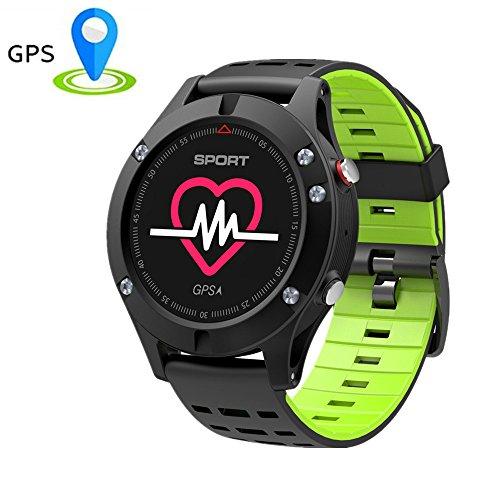 Bluetooth Smart Fitness ArmbandUhr,TechCode OLED-Farbbildschirm Fitness Tracker Bluetooth Smart Uhr F5 GPS Smart Band Pulsmesser Höhenmesser Thermometer Schrittzähler Armband mit OLED-Farbbildschirm Aktivitätstracker, Herzfrequenzmonitor, Farbbildschirm Schrittzähler für Android(Grün)