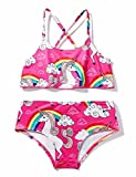 chicolife Ragazze Costume da Bagno Bikini a Vita Alta Impostare Halter Neck Swimwear Arcobaleno Unicorno Stampa Costumi da 24 Mesi