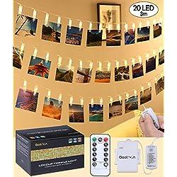 Qoolivin LED Clip pour Photo lumières 3 m 20 Clips de lumière