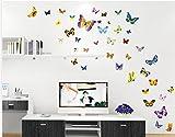 Rainbow Fox 50pcs 3D Art Butterfly Decal 3D Butterfly Stickrs Fashion Design DIY Wall Decoration Wall Sticker Home Decor House Decoration Babyroom Decoration Room Decoration by Rainbow Fox