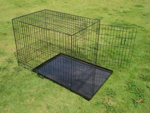 BUNNY BUSINESS Metal Dog Crate 2 Doors with Bedding and Lint Rollers, Black - PARENT 3
