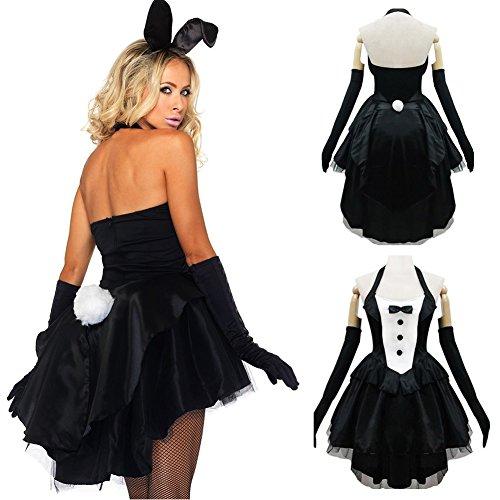 Halloween-Kleid, Schönes Sexy Bunny Cosplay Kostüm Smoking für Party, Halloween Kaninchen Rock Größe S Wie abgebildet