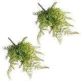 Kicode Fish Tail pino helecho hoja artificial flores falsas flores de seda ramo de las flores flor verdadera del tacto 2 paquetes
