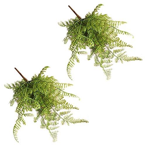 Kicode fish tail pino foglia di felce fiori artificiale falso fiori di seta fiori bouquet reale di tocco del fiore 2 pacchi