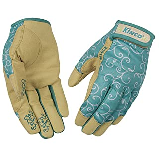 KINCO 2001W-S Women's Breathable Synthetic Gloves, Tan and Turquoise Pattern, Small, Blue