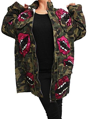 Damen Patches Camouflage Denim Jacke Parka m Bomberjacke h Jeansjacke übergangsjacke Lederjacke Blazer Freizeitjacke Basic Vintage Jeans Mantel camo (EInheitsgröße/Oversize, Camouflge + Patches)