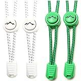 gipfelsport Elastische Schnürsenkel mit Schnellverschluss (2X Paar: Weiß/Grün) I Schnellschnürsystem für Schuhe Ohne Binden | für Damen, Herren und Kinder