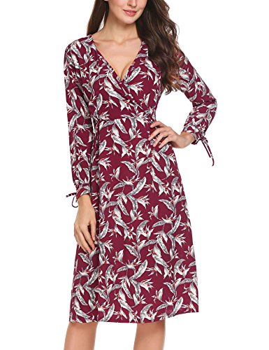 ACEVOG Damen Tiefer V-Ausschnitt Chiffonkleid Partykleider Sommerkleid Brautjungfernkleid Abendkleider hohe Taille Knielang Kleider PAT 2