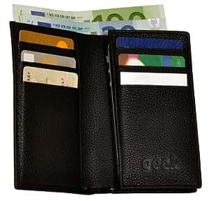"""geek Ledertasche Case """"Steve"""" für Apple iPhone 4/4S aus echtem Rindleder schwarz (Geldscheinfach und 6 Kreditkartenfächer)"""