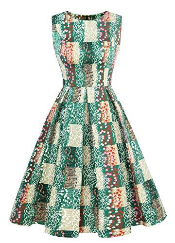 Damen Vintage 1950 Retro Floral Print Swing Kleid ärmelloses Nobles Rockabilly Kleid Party Cocktailkleid kariert Grün M