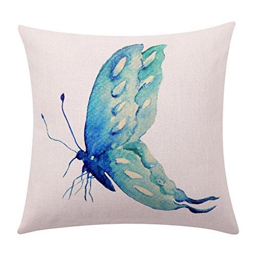 BreezyLife Watercolor Butterfly Überwurf Kissen Cover Spring Schmetterling Deko Kissen Case Square Leinen Kissenbezug für Sofa Couch Outdoor Home Decor Einzugs Geschenk 18x18 inches Türkis