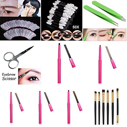 lzndeal Lzndeal Set Professional Beaute Maquillage des sourcils sourcils pochoirs 24pcs, crayon à sourcils, 5pcs brosse pour les yeux 6,ciseaux à sourcils, pinces à sourcils 2,éponge à paupières 50