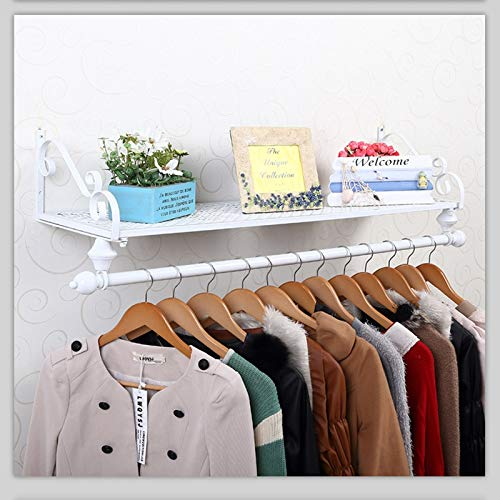 RFJJAL Eisen Garderobe Kleiderbügel an der Wand montiert, einzelne Schiene Kleiderhalter und Lagerung schwimmende Regal für Eingangsbereich Flur Schlafzimmer Badezimmer - Holz-mantel Schwimmende
