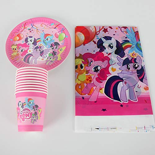 tstag Party Supplies Dekoration My Little Pony Pappteller Tasse Abdeckung Set Baby Shower Pary Favors 41 Teile/Satz ()