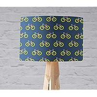 Pantalla de lámpara azul con diseño de bicicleta, lámpara de mesa o de techo.