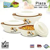 #4: BMS Lifestyles GoodDay Plaza Insulated Hot Pot Casserole Gift Set, 3 Pcs & 650ml Bowl ,Brown