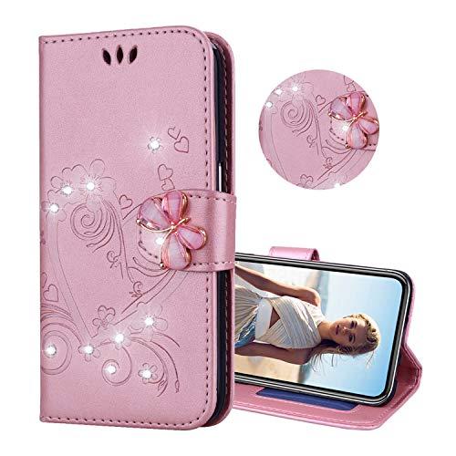 Obesky Kompatibel mit iPhone 6/iPhone 6S Hülle, Bling Glitzer Liebe Blumen Geprägtes PU Leder Flip Wallet Cover Standfunktion Kartensfach mit 3D Diamant Schmetterling Magnet Schutzhülle, Roségold (Bling Laptop Case)