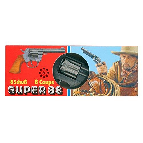 J.G.Schrödel Super 88: Spielzeugpistole in Geschenkebox für das Cowboy- und Sheriffkostüm, ideal für Fasching, auch als Indianer-Accessoire, 20 cm, schwarz/braun (103 0088)
