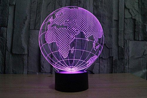 Lampe 3D ILLUSION Lichter der Nacht, kingcoo 7Farben LED Acryl Licht 3D Creative Berührungsschalter Stereo Visual Atmosphäre Schreibtischlampe Tisch-, Geschenk für Weihnachten, Kunststoff, Globe Européen 0.50 wattsW - 3