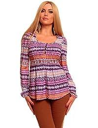 Damen Freizeit Bluse Tunika Mehrfarbig Langarm Gr 36, 40