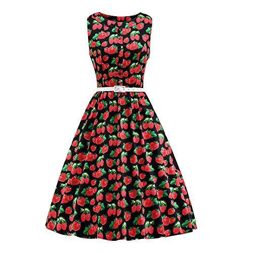 LUOUSE Vintage Robe année 50 Audrey Rockabilly Robe Femme de Cocktail Rétro Imprimée Sans Manche avec poches cachées V202-Strawberry