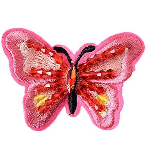 Dosige 1 Stück Schmetterling Aufnäher Patches Applikation Strass für Jacken Kleidung Strass Schmetterling 6.8 * 5CM (Rose rot)