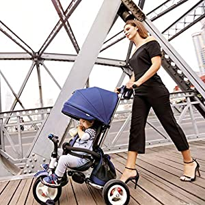 XHYX Stroller,Three-wheeled cart Portable folding wagon for sitting and lying three-wheeled baby stroller   3