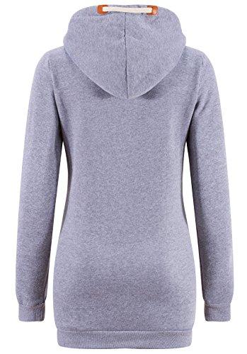 KorMei Damen Lange Zip Hoodie Kapuzenpullover Sweatjacke Sweater Winter Hellgrau