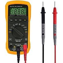 Proster Multímetro Digital (con Luz de Fondo) MS8233D Rango Automático Multímetro Digital Portatil - Medir AC / DC Voltaje, Corriente DC, Resistencia, Diodos, Transistor, Audible Probador de Continuidad