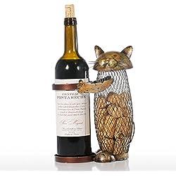 Tooarts Estante de Vino con Contenedor de Corcho - Gato - Decoración en Forma de Hierro Color Marrón