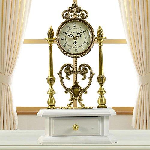 Liu-orologio da tavolo antiquariato in rame di stile europeo decorazione calda dell'orologio del quarzo di legno massiccio pastorale , white