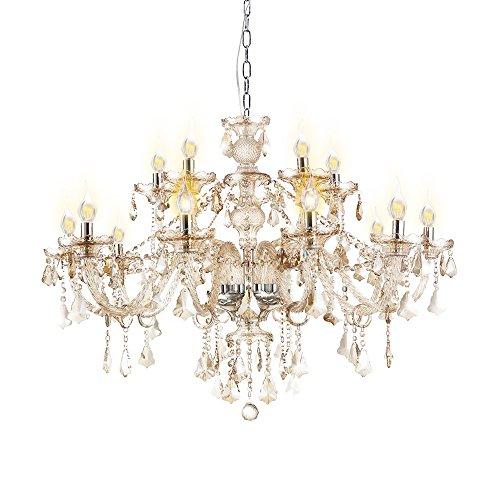 15 Licht-kristall-kronleuchter (Homelava Kristall Kronleuchter Prachtvoll Cognac 15-flammig Durchmesser 80 cm für Wohnzimmer, Esszimmer, Hotel and Bar)