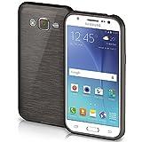 Samsung Galaxy J5 (2015) Hülle Silikon Schwarz [OneFlow Brushed Back-Cover] TPU Schutzhülle Ultra-Slim Handyhülle für Samsung Galaxy J5 2015 Case Dünn Silikonhülle Rückseite Tasche