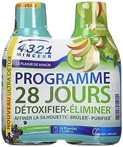 Arkopharma 4321 Minceur Prog 28 Jours 1 Detox, 1 Draineur Pomme Kiwi 2 Bouteilles de 280 ml