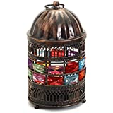 Aapno Rajasthan Round Copper Finish Lantern Tea Light Holder With Glass Stones