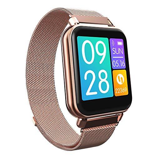 RanGuo Bluetooth Smartwatch für Herren Damen Kinder, Outdoor Sports Wasserdichtes Intelligente Armbanduhr für Android und ios System, Support-Anruferinnerung und Nachrichtenerinnerung (Rotgold)
