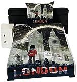 Global Labels G 82 600 LON3 100A Städte London Night Bettwäsche Renforce 140 x 200 Bettbezug und 70 x 90 cm Kissenbezug