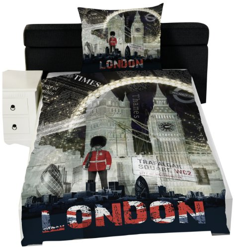 Global Labels G 82 600 LON3 100A Städte London Night Bettwäsche Renforce 140 x 200 Bettbezug und 70 x 90 cm Kissenbezug -