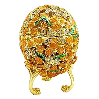 Asiproper Easter Egg Jewelry Display Box Leaves Enamel Handicraft Home Decoration (07)