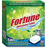 Fortune 5 In 1 Action Dishwasher Tablets - Fresh Scent, 30 Count