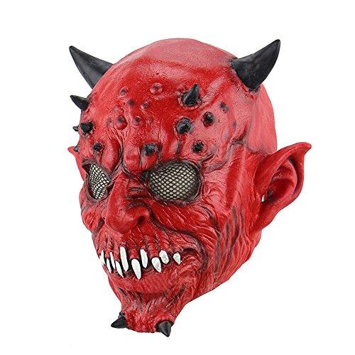 HBWJSH Hölle Nacht Gabel Hörner Halloween Perlen Spukhaus Bar Horror Geist Latex Maske
